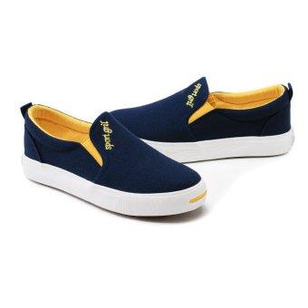 Four Seasons Casual Couple Canvas Shoes Men Fashion Breathable Flat Shoes (Blue)