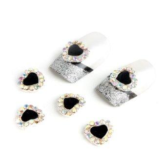 JIANGYUYAN Alloy Rhinestones Heart Nail Art Tips Decals Sticker DIY Decoration (Black,Bag of 10 Pcs) (Intl)