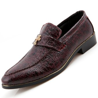PINSV Leather Men Formal Shoes Loafers (Red) - Intl