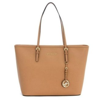 Michael Kors Jet Set Travel TZ Tote In Suntan - Cokelat