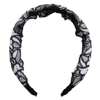 louiwill Women Elegent Lace Hair Band with Rose Arabesquitic,White - Intl