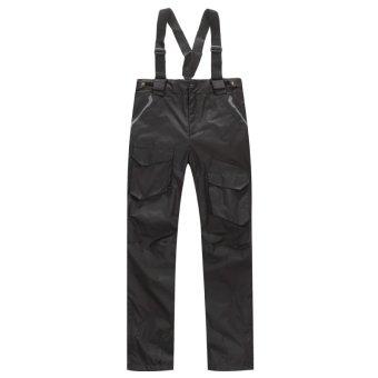 Syrinx Mens Winter 2in1 Pants Waterproof Fleece Lined Warm Outdoor Fishing Hiking Trousers ( Black) (Intl)