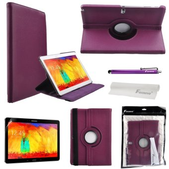 4-in-1 Stand PU Flip Case Set for Samsung Galaxy Note 10.1 2014 Edition P600 P601 P605 (Purple)