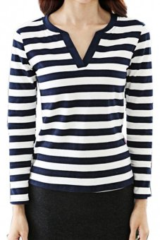 CatWalk Han edition female blue and white stripes the stylish v-neck t-shirts M-XL (Blue) (Intl)