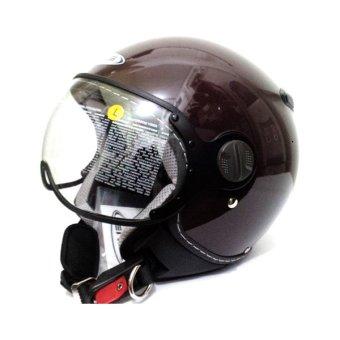 Zeus Helm Half Face ZS-210K Polos - Cokelat
