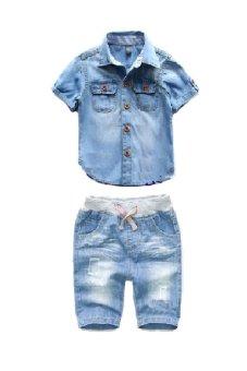 harga Mini Jeans Setelan Kemeja Denim Celana Jeans - anak laki-laki Lazada.co.id