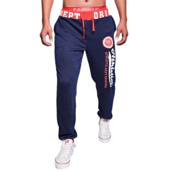 EOZY FASHION Men Sport Sweat Pants Korean Style Male Casual Pants Stylish Training Running Jogging Trousers Slacks (Navy) (Intl)