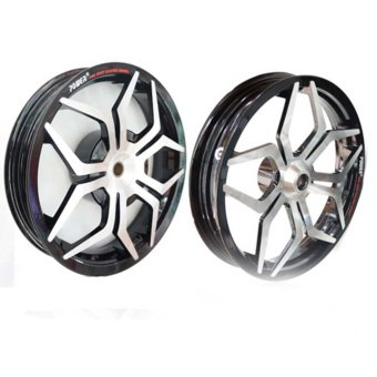 Power Velg Pelek Racing Lebar X - Ride Palang 5 Sun Star Hitam Chrome