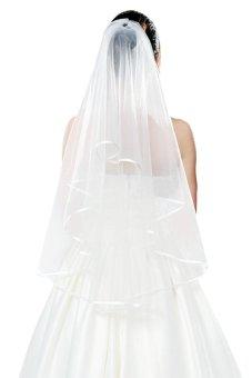 Beautiful Fashion Lady 1.5M Wedding Bridal Veil Pure white