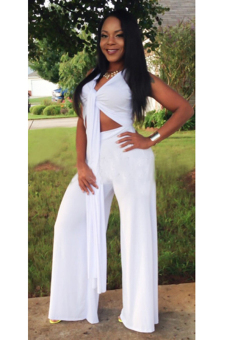 Toprank Womens Jumpsuit Sexy Long Rompers V Neck Sleeveless Halter Neck Womens Overalls - Intl