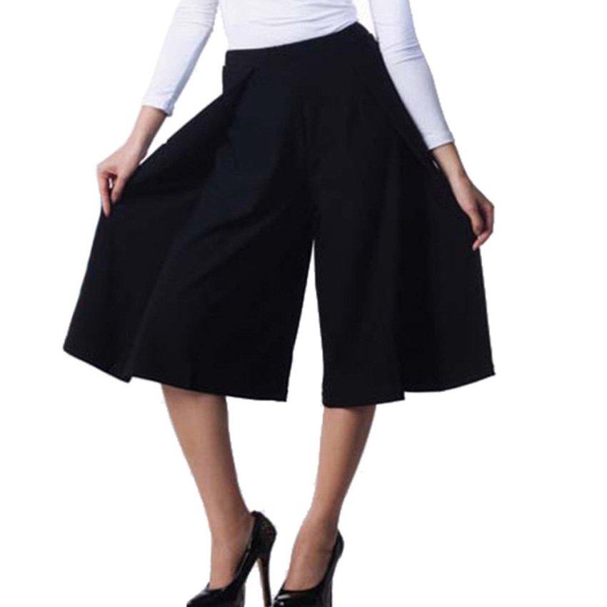 Yoorafashion Celana Kulot Wanita - Hitam - Layer Cullotes Pants