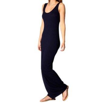 Fashion Women Summer Casual Sexy Sleeveless Long Maxi Beach Party Bodycon Dress dark blue L - Intl