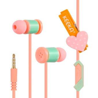 3.5 mm In-Ear Girls Cute Stereo Earphone with Mic For Smartphone (Pink) - Intl