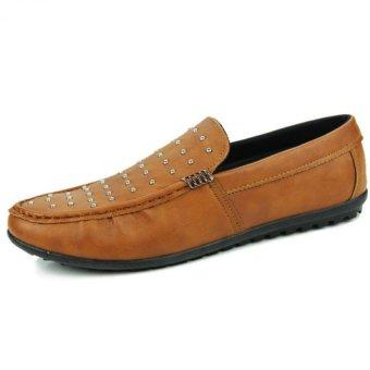 YINGLUNQISHI Men Flat Driving Loafers Boat Shoes JC17 (Brown) - Intl