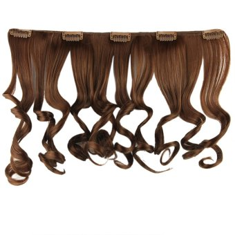 Women's Wavy Curly Blond Black 5 Clip-in Synethic Hair Extensions I  - Intl