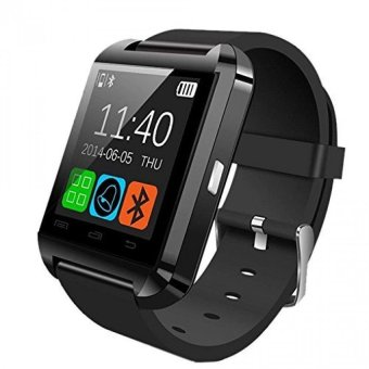 2pcs*WU8 Smart Watch Bluetooth Smart Watch Touch Screen for Android and iOS (Black) (Intl)
