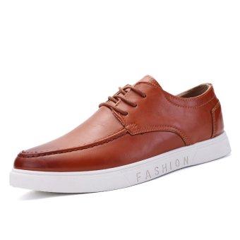 ZHAIZUBULUO Men Leather Casual Low-Cut Sneakers ASL-6602 Brown