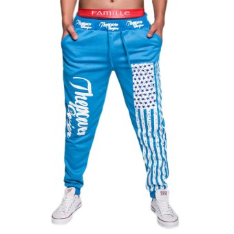 EOZY 2016 NEW FASHION Men Sport Sweat Pants Korean Style Male Baggy Dance Training Running Jogging Trousers Casual Pants (SkyBlue) (Intl)