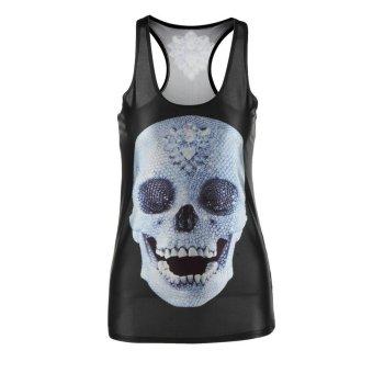 Allwin Gothic Quality X-ray-Skeleton Skull Clubwear Punk T-Shirt Print Tank Top Black (Intl)