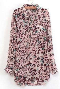 SuperCart Women Vintage Printed Loose V-Neck Long Sleeve Chiffon Blouse Shirt Tops (Leopard) (Intl)