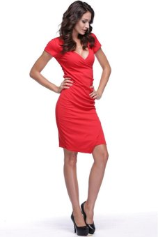 UJS New Womens V-Neck Slim Bodycon Drape Pleated Irregular Dress S-XL (Red) (Intl)