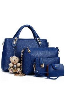 JustCreat 4 Set 2015 Wax Oiled PU Leather Bag Women Lady Handbag Shoulder Crossbody Handbag and Messenger Bag and Purse and key Bags Oblique Package (Blue)