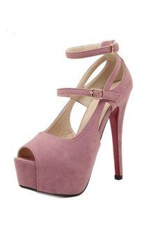 ZHENGQI Women Waterproof High Heel Shoes (Pink) (Intl)