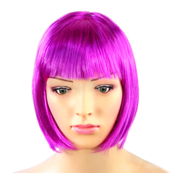 Cocotina Fashion Womens Synthetic Short Straight Bob Hair Full Wig For Cosplay Anime Party Club – Purple- INTL