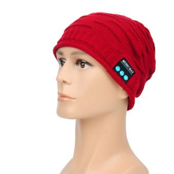 CatWalk Soft Warm Beanie Hat Wireless Bluetooth Smart Cap Headset Headphone Speaker Mic (Red) (Intl)