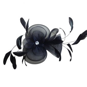 Lady Fascinator Feather Headdress Hair Clip Hat Lace Cocktail Hat With Fabric Flower - INTL