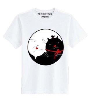 harga Sz Graphics/Yin Yang Cat/T Shirt Wanita/Kaos Wanita/T Shirt Fashion Wanita/T Shirt Kaos Distro Wanita-Putih Lazada.co.id