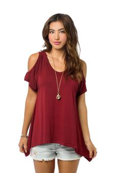 Azone Short Sleeve V Neck Off Shoulder T Shirt (Red) (Intl)