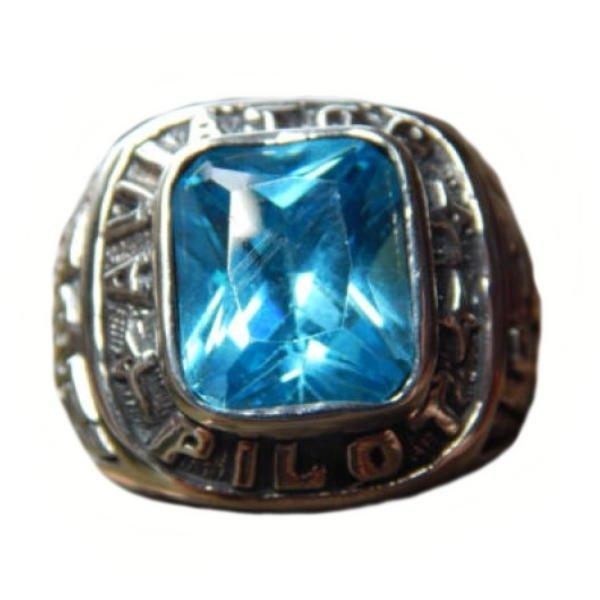 Jnanacrafts Cincin Perak Motif Sayap Burung Batu Blue Topaz - Biru