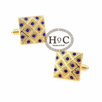 Houseofcuff Cufflink Cufflinks Manset Kancing Kemeja French Cuff Square Golden Blue Cufflinks