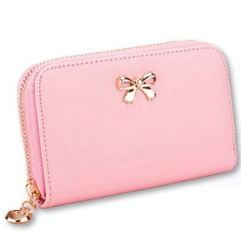 Female short paragraph small purse zipper purse Student Mini ppcl419f-pink (Intl)