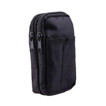 S & F Fashion Black Waterproof Double Layer Belt Bag Cellphone Case Waist Bags - Intl