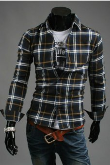 Hequ Men Long Sleeve Plaid Shirt(Black/Blue)