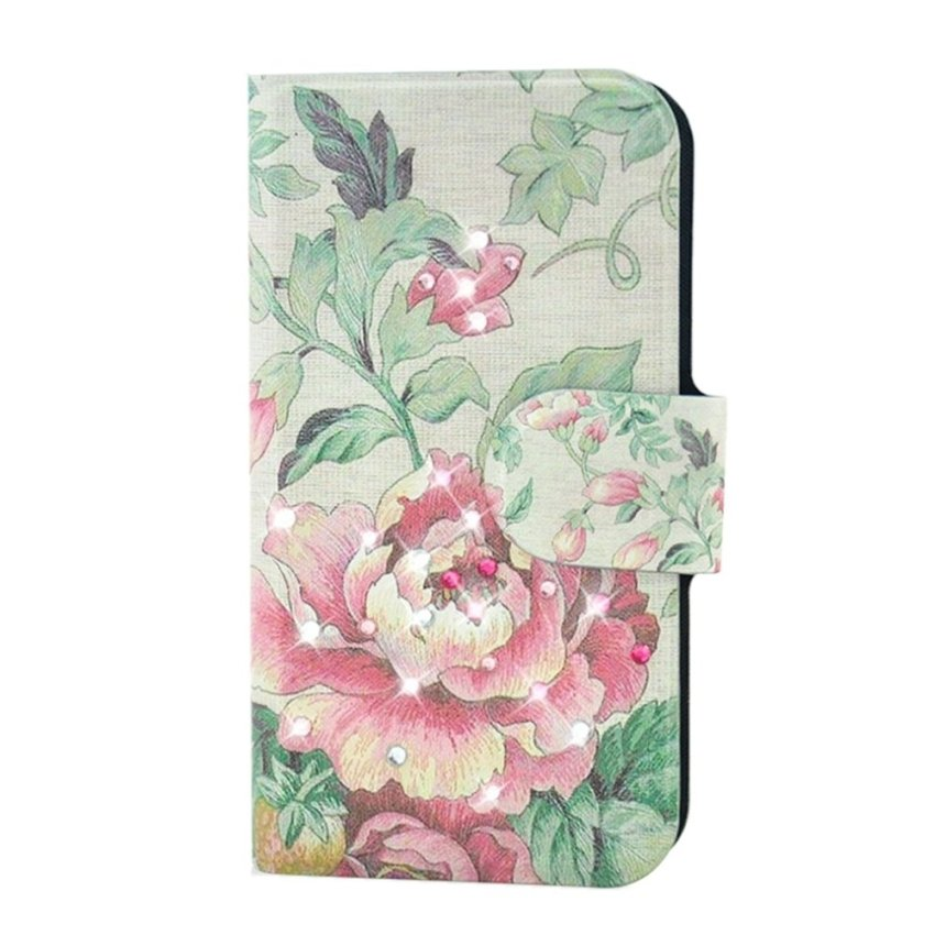 Rhinestone Pink Peony Design Card Slot Magnetic PU Leather Flip Case Cover Compatible For LG Optimus G E973 E975 F180L