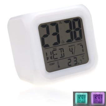 Glowing LED 7 Digital Alarm Clock and Thermometer (White) (Intl)