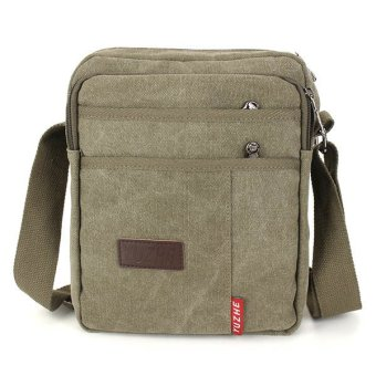 New Men`s Crossbody Bag Canvas Leisure Pocket Green - INTL