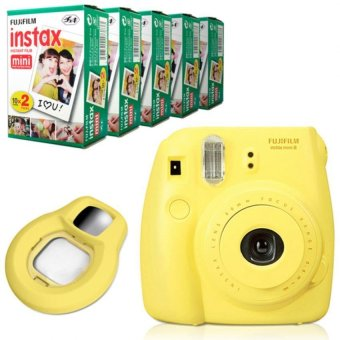 Fujifilm Instax Mini 8 Instant Camera (Yellow) + Fuji White Edge Instant 100 Film + Close-up Lens ...