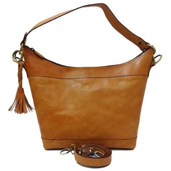harga LIN'S Craft Tas Kulit Hobo Long Polos - Coklat Lazada.co.id