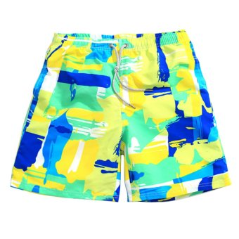 AOXINDA Men Swimming Quick-dry Sports Surf Board Beach Shorts (t-1401) Size S Blue and Green - Intl