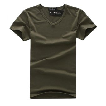 EOZY Fashion Men's Casual V-Neck Short Sleeve T-Shirts Korean Style Male Outdoor Sports Skinny Slim Soft T-Shirts Clothing Tops (Army Green) - Intl