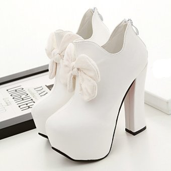 Womens Round Toe Square Heel PU Club Ankle Boots with Flowers White (Intl)