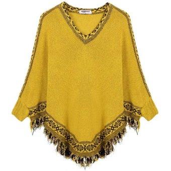 Cyber Zeagoo Fashion Women V-neck Batwing Sleeve Tassels Hem Cloak Knitting Loose Sweater (Beige) (Intl)