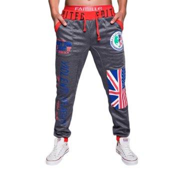 EOZY FASHION Men Sport Sweat Pants Korean Style Male Casual Pants Stylish Flag Pattern Training Running Jogging Trousers Slacks (Deep Grey) (Intl)