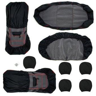 Gracefulvara 11 Pcs Full Seat Cover Set Car Seat Cover Low Front Back Set (Black/Grey) (Intl)