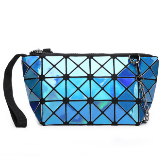 Stitching Lace Handbag Chain Shoulder Bag Small Clutches Laser Blue - Intl