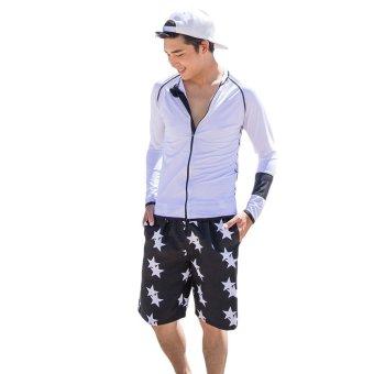 EOZY FASHION Men Beach Pants Board Shorts Korean Style Male Star Pattern Swim Wear Summer Couples Beach Sports Trunks Short Pants (Black) (Intl)